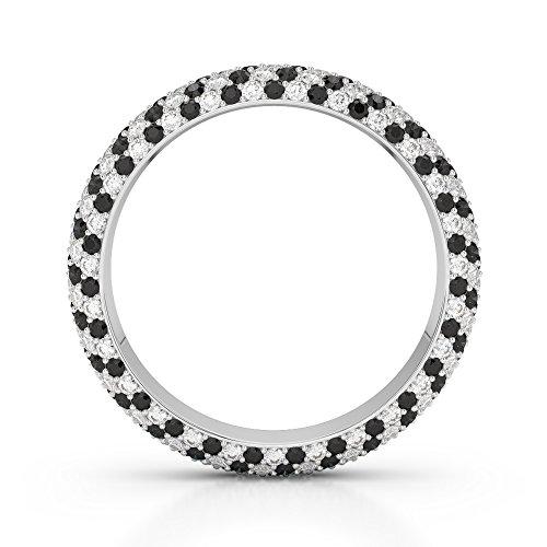 G-H/VS 0,60CT Coupe ronde sertie de diamants Noir Full Eternity Bague en platine 950Agdr-1116