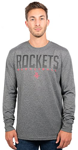 Houston Rockets Men's T-Shirt Athletic Quick Dry Long Sleeve Tee Shirt, X-Large, Charcoal