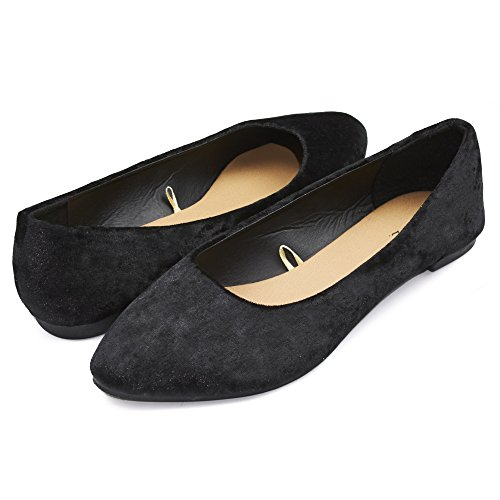 Black Crushed Leather (Sara Z Womens Crushed Velvet Pointed Ballet Flat Slip On Shoes (See More Colors and Sizes) (9/10, Black))