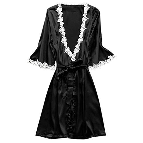 Women's Sexy Satin Silk Sleepwear Robe Kimono Pajamas Deep V Temptation Lingerie Bridesmaid Bathrobes Night Dress (Black, L)