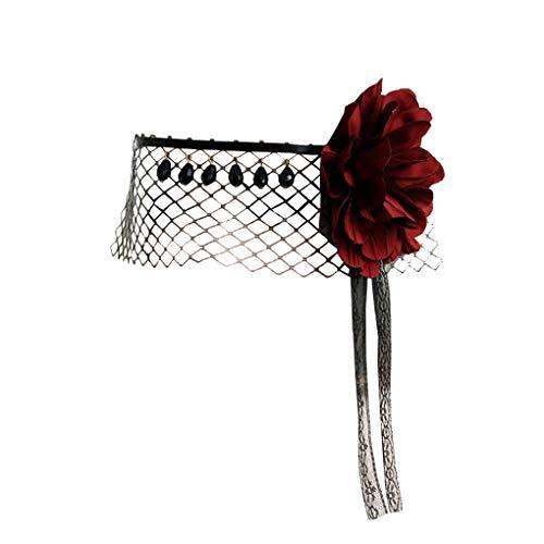 Halloween Veil Headband Vintage Black Mesh Gemstone Crown Masquerade Mask for Women Cosplay Headress
