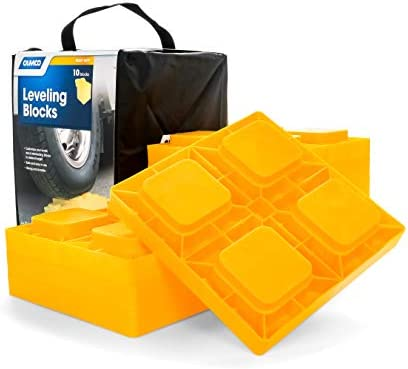Amazon Com Camco Heavy Duty Leveling Blocks Ideal For Leveling Single And Dual Wheels Hydraulic Jacks Tongue Jacks And Tandem Axles 10 Pack 44505 Yellow Automotive