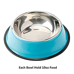 Whippy Stainless Steel Dog Bowl dog food bowl For Small/Medium/Large Pets (set of 2)