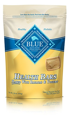 - Blue Buffalo Health Bars Natural Crunchy Dog Treats Biscuits, Banana & Yogurt 16-oz bag