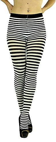 ToBeInStyle Women's Colorful Opaque Striped Tights Pantyhose Stocking Hosiery - Black/White - One Size