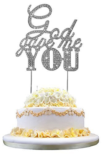 Tinksky Wedding Cake Topper God Gave Me You Sparkle Rhinestone Cake Decoration in Silver ()