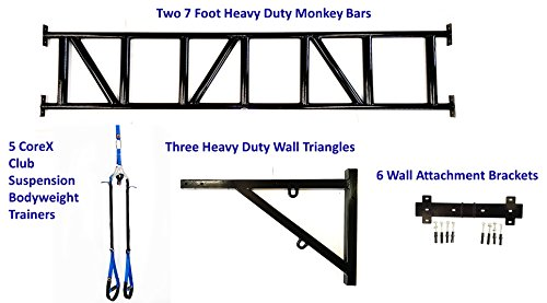 CoreX Commercial Bodyweight Training Solution 14 Foot Monkey Pull Up Bar Wall Frame & 5 Club Bodyweight Trainers. A must have package for all gyms and clubs!