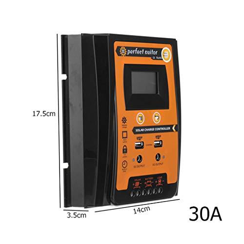 (Solar Charge Controller,EHOO 12V 24V 30A 50A 70A MPPT Solar Charge Controller Solar Panel Battery Regulator Dual USB LCD Display-30A)