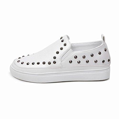 Carolbar Femmes Confort Décontracté Pointes Mocassins Appartements Chaussures Blanc