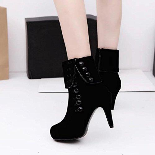 Botas Mujer,Ouneed ® Moda mujer tobillo tacones altos botas plataforma hebilla botas de invierno Negro