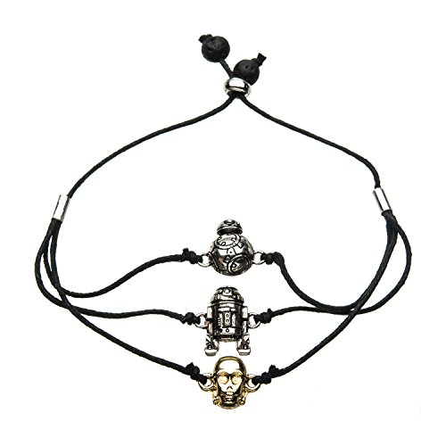 - Star Wars Jewelry Unisex Adult Episode 8 BB-8, C-3PO and R2-D2 Wax Cord Bracelet, Black, Expandable