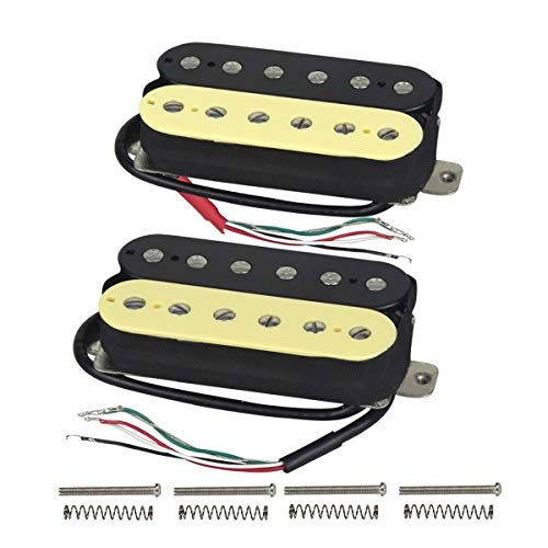 FLEOR High Output Alnico 5 Guitar Pickup Double Coil Humbucker Pickups Neck and Bridge Set (Cream+Black)