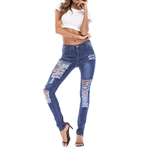 Jeans Size Blue Blue Nhatycir color Moda Hole Denim Pop Donna Pantaloni Xxxl 5wqZ4w1z