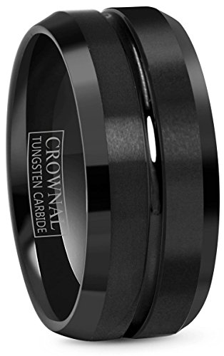 Crownal 4mm 6mm 8mm 10mm Black Tungsten Wedding Band Ring Men Women Beveled edges Polished Grooved Center Comfort Fit Size 4 To 17 (10mm,11)