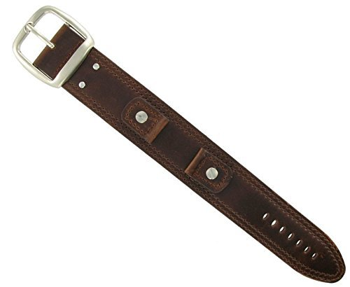 Wrist Cuff Watch Band - Waterproof, Genuine Leather, Cool & Edgy Style- Pair With 18mm Watch Face - Brown