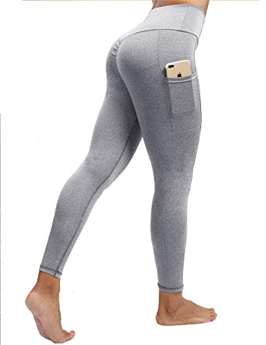 NORMOV High Waisted Two Pockets Yoga Pants Tummy Control Ruched Butt Workout Leggings for Women (L, Out Pocket-Light ()