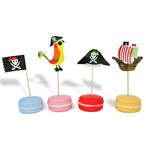 60 PCS Pirate Cake Cupcake Toppers Food Picks for Baby Shower Theme Birthday Party Decorations by SHXSTORE]()