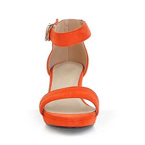 AmoonyFashion Womens Kitten Heels Frosted Solid Buckle Open Toe Sandals Orange YkkD5aEt