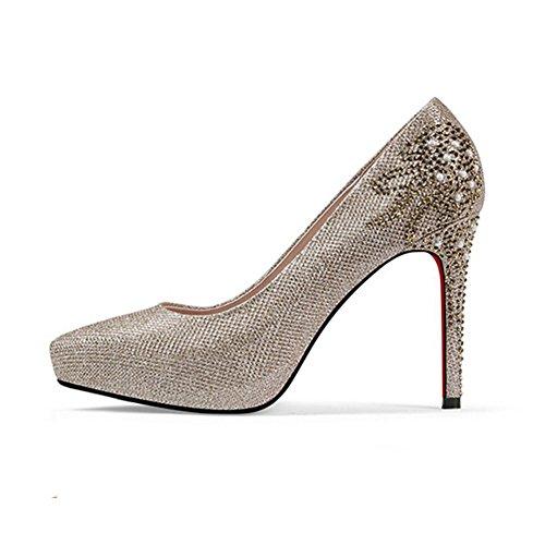 YIXINY Zapatos de tacón Zapatos De Boda Zapatos De Mujer Rhinestone Plataforma Impermeable Dorado Stiletto Novia Oro/Plata / Negro (Color : 1, Tamaño : EU37/UK4.5-5/CN37) 1