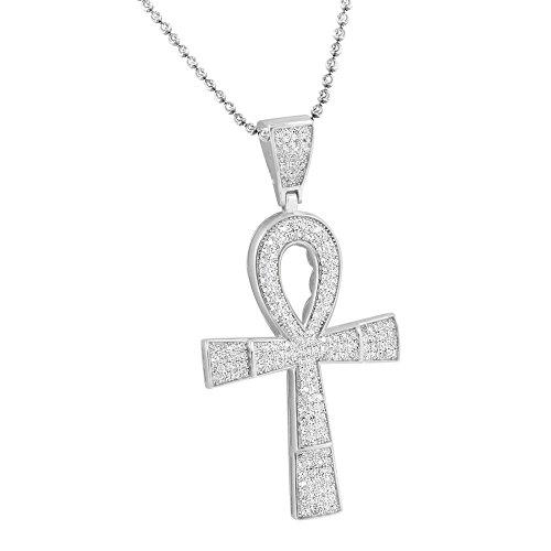 Argent 925Croix d'Ankh Pendentif Lune Collier Blanc Doré imitation diamant
