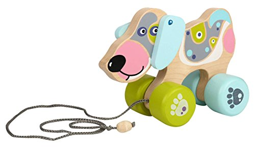 Wise Elk Wooden Toy Happy Puppy Push and Pull