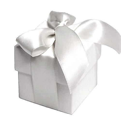 BalsaCircle 100 White Cute Wedding Favors Boxes with Lids for Wedding Party Birthday Candy Gifts Decorations Supplies Wholesale