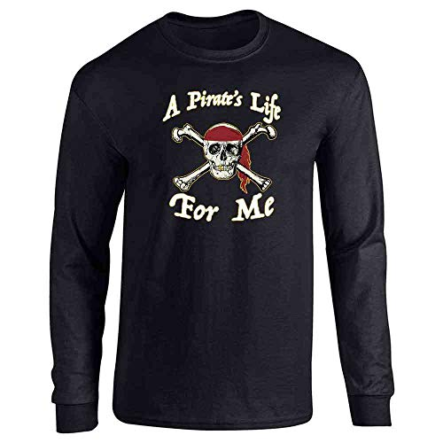 Pop Threads A Pirate's Life for Me Halloween Costume Skull Black L Long Sleeve T-Shirt