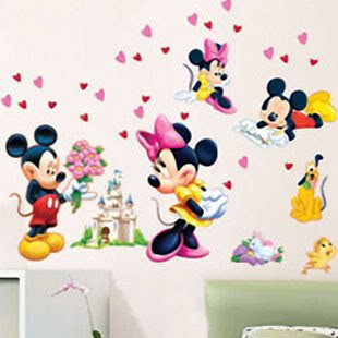Mickey Mouse & Minnie Mouse Dekor fürs Kinderzimmer Wandtattoo ...