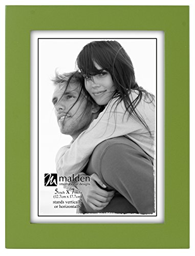 Malden International Designs Linear Classic Wood Picture Frame, 5x7, (Green 5x7 Photo)