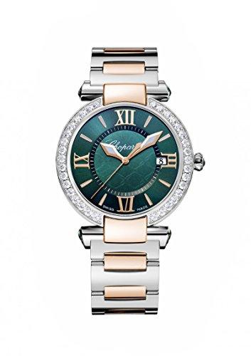 Womens Chopard Rose & Steel Diamonds, Green Dial Imperiale Quartz 36mm 388532-6009