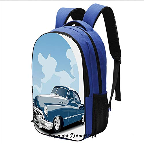 Unisex Curve Backpack Old Timer Vintage Automobile Collectors Revival Nostalgia American Culture Perfect All-Around Bag for a Day on Campus or for Travel,Blue Pale Blue Black (Big Tent Revival The Best Thing)
