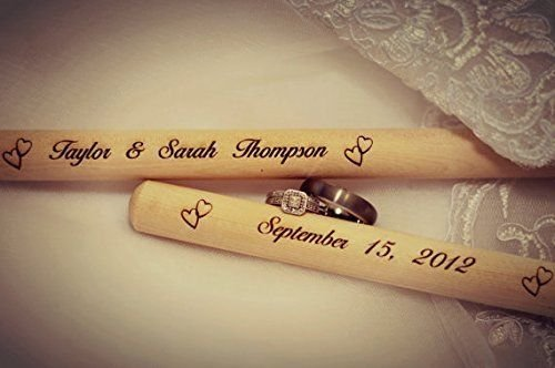 1) Personalized Laser Engraved Wooden Drumsticks