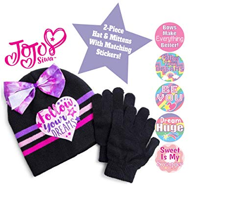 Jojo Siwa Beanie Hat With Gloves And Fun Stickers Gift Set, Jojo Siwa Black And Pink Beanie Hat, Jojo Siwa Fun Stickers, Jojo Siwa Fashion Accessories Set, Christmas And Birthday Gift Ideas For Girls ()