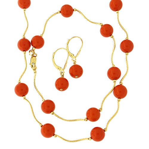 - 14k Yellow Gold Diamond Cut 8mm Simulated Coral Station Necklace, Earrings and Bracelet Set