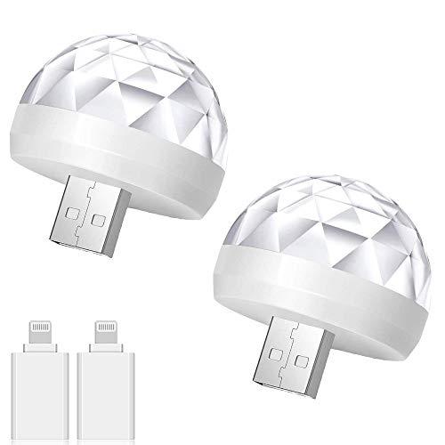 2pcs Car LED Atmosphere Light USB Magic Light Car Cigarette Lighter Lights 5V 3W Sound Control Colorful Strobe Light