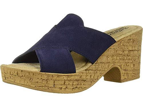 Bella Vita Women's Lor-Italy Slide Sandal Shoe, Navy Italian Suede Leather, 7 2W US