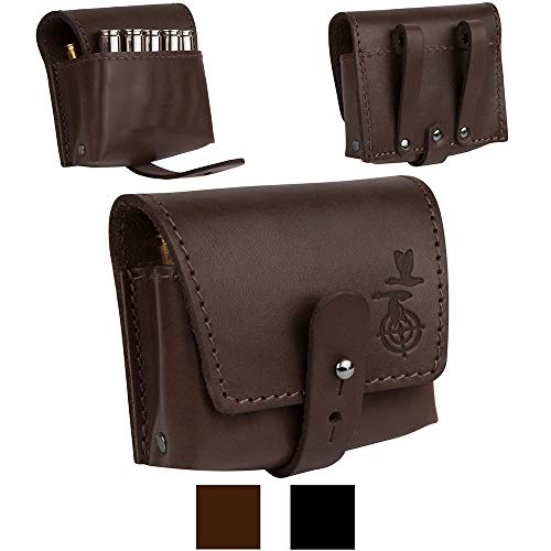 BronzeDog Leather Shell Holder Waist Ammo Wallet Durable Cartridge Belt .30-30 .306 .308 Caliber Hunting Accessories (Brown) (Best 338 Win Mag Ammo)