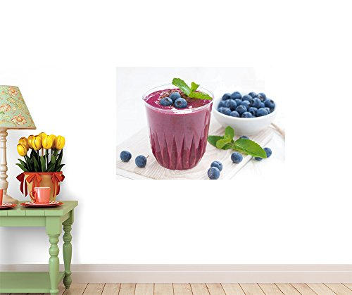 Blueberry Milkshake with Mint and Chocolate Peel and Stick Fabric Wall Sticker by Wallmonkeys Wall Decals - 24 Inches W x 16 Inches H