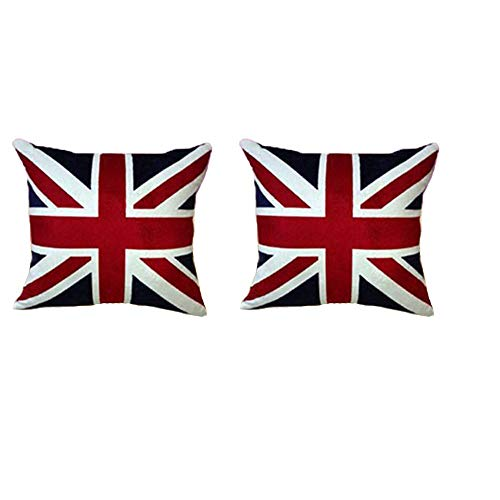 Newweic UK Flag Pillow Cover, Soft British Pillow Case Velvet Throw Pillow Cases 18x18 Set of 2