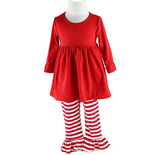 Wennikids Children Kids 2 Pieces Long Sleeve Ruffle Dress & Pants Outfits Large ()