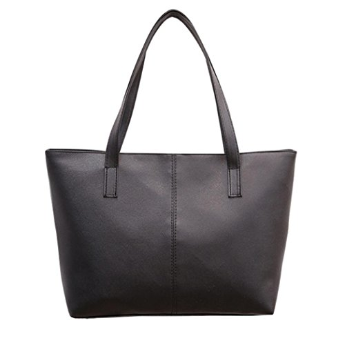 ChainSee Modern Stylish Large Capacity Leather Handbag Tote Purse Shoulder Bag for Women Girl (Black)