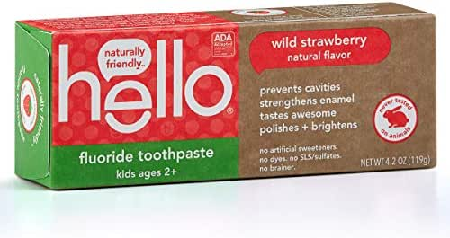 Hello Oral Care ADA Approved Fluoride Kids Toothpaste, Vegan & SLS Free, Natural Wild Strawberry Flavor, 4.2 Ounce (Pack of 1)