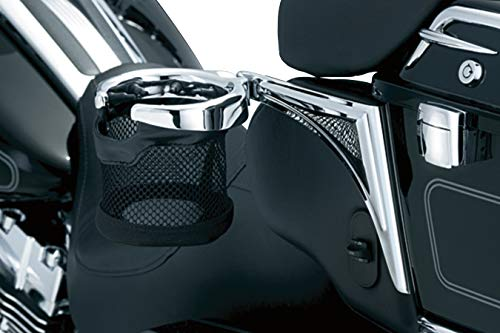 Kuryakyn 1689 Motorcycle Accessory: Passenger Drink/Cup Holder with Mesh Basket for 1998-2013 Harley-Davidson Motorcycles, Left Side, Chrome ()