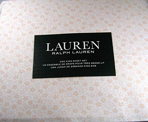 Lauren 4 Piece King Size Sheet Set Small Floral Print Champagne Pink 100% Cotton (Small Floral Bedding Print)