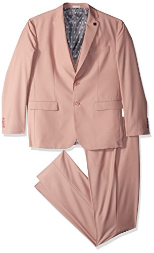 STACY ADAMS Men's Bud Vested Slim Fit Suit, Misty Rose, 44 Long