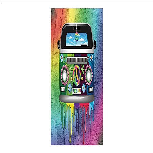 (3D Decorative Film Privacy Window Film No Glue,Groovy Decorations,Old Style Hippie Van with Dripping Rainbow Paint Mid 60s Youth Revolution Movement Theme,Multi,for Home&Office)