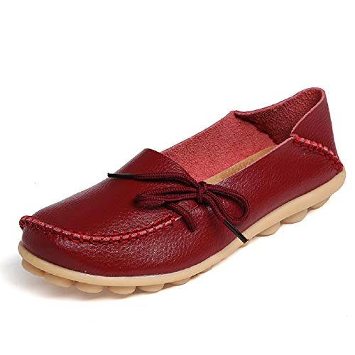 SHIBEVER Women's Leather Loafers Moccasins Wild Driving Casual Flats Oxfords Breathable Shoes Burgundy 11