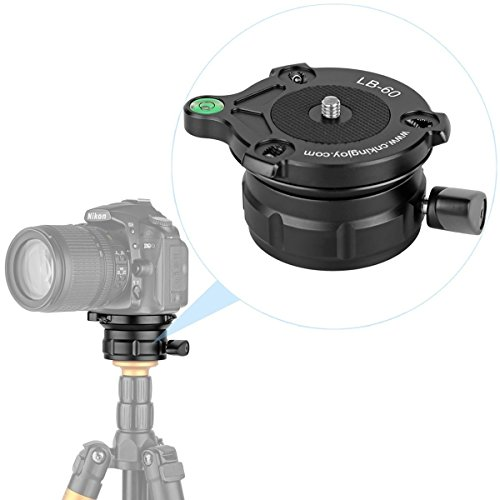 Kamisafe KINGJOY LB-60 Professional Tripod Leveling Head Base with Bubble Level for Canon, Nikon and Other DSLR Cameras with 1/4