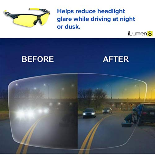 ddce971d659 Amazon.com  BEST Night Driving Glasses- Anti Glare Night Vision Reduce Eye  Strain Men Women ((2 Pair Combo) Yellow   Amber)  Clothing