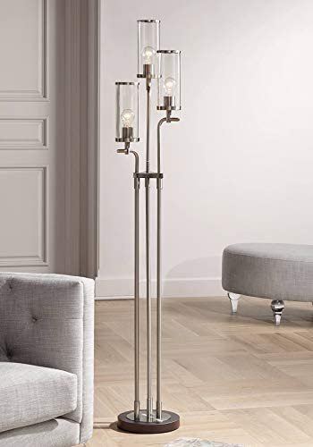 Revely Modern Floor Lamp 3-Light Brushed Nickel and Gunmetal Clear Glass Shade